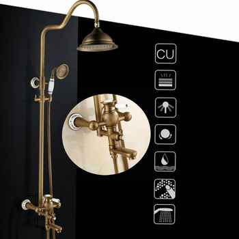 Bathroom Rain Shower Set Antique Bronze Wall Mounted Bath Shower Faucets with Hand Shower Wall Mounted EL0628 - DISCOUNT ITEM  18% OFF All Category