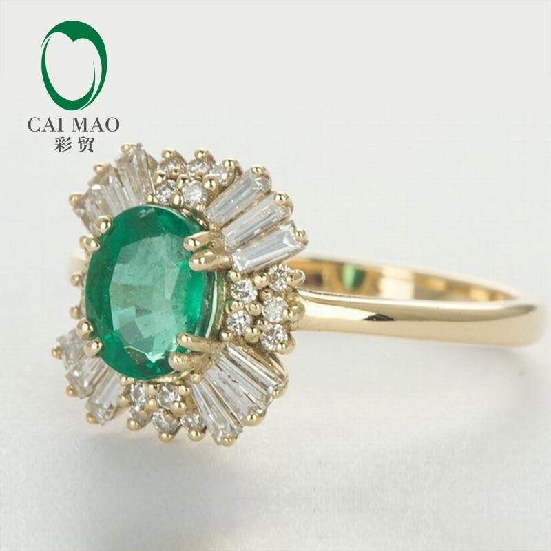 Caimao 14kt Yellow Gold Natural 1.21ct Emerald Round dan Baguette - Perhiasan bagus - Foto 4