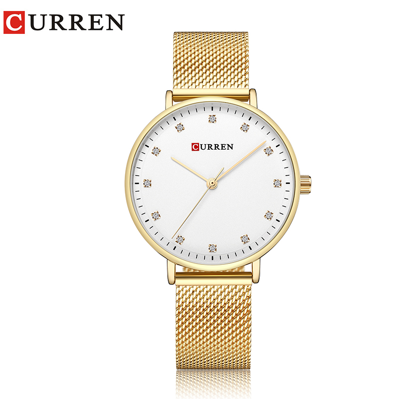 CURREN casual dress rhinestone watches women luxury brand slim gold mesh stainless steel wrist watch ladies quartz wristwatch 2016 luxury golden women dress wrist watches brand womage ladies ultra slim stainless steele mesh mini bracelet quartz watch