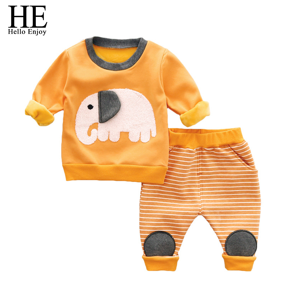 baby boy winter clothes warm thick animal elephants Long sleeve sweatshirts+stripe pants tracksuit kids clothing sets girl 2018