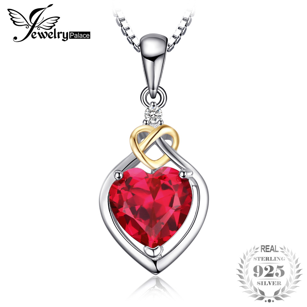 JewelryPalace Love Knot Heart 2.5ct Created Red Ruby 925 Sterling Silver 18K Yellow Gold Anniversary Pendant Necklace 45cm Chain 2018 aliexpress silver 925 gold color love heart wing chain pendant