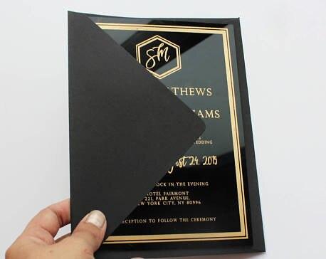 acrylic wedding invitation customized fancy shape in cards