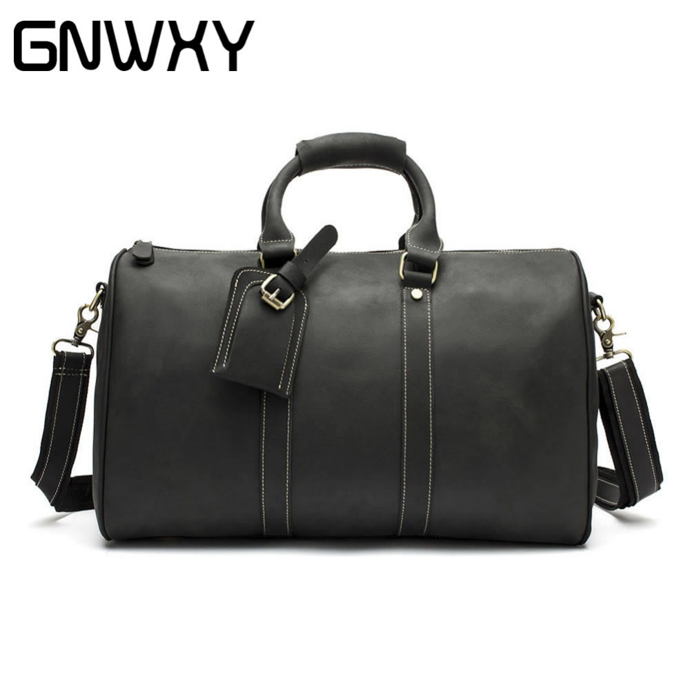 Men Vintage Crazy Horse Leather Travel Bags Carry on Luggage Bags Genuine Leather Duffel Bags Large Weekend Bag Overnight Travel augur new canvas leather carry on luggage bags men travel bags men travel tote large capacity weekend bag overnight duffel bags