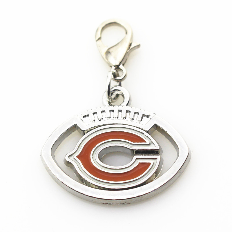 20pcs/lot chicago bears Football sports dangle charms DIY bracelet/necklace lobster clasp hanging charm jewelry accessory ...