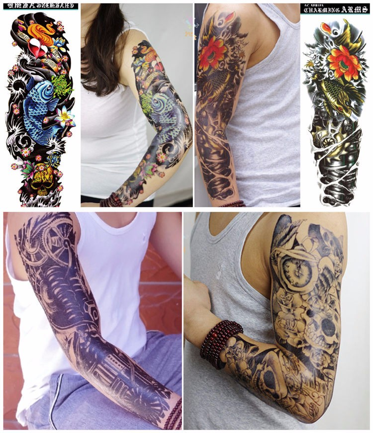 17 new arrive 48 X 16CM cool temporary Full arm tattoo waterproof stickers (12 design)fake tattoo makeup for men boy 4