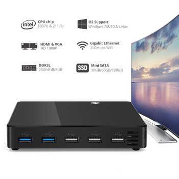 Mini PC Intel Celeron 1007U Pentium 2117U Micro Desktop Computer Windows 10 Gigabit Ethernet 300M WiFi HDMI VGA 5*USB