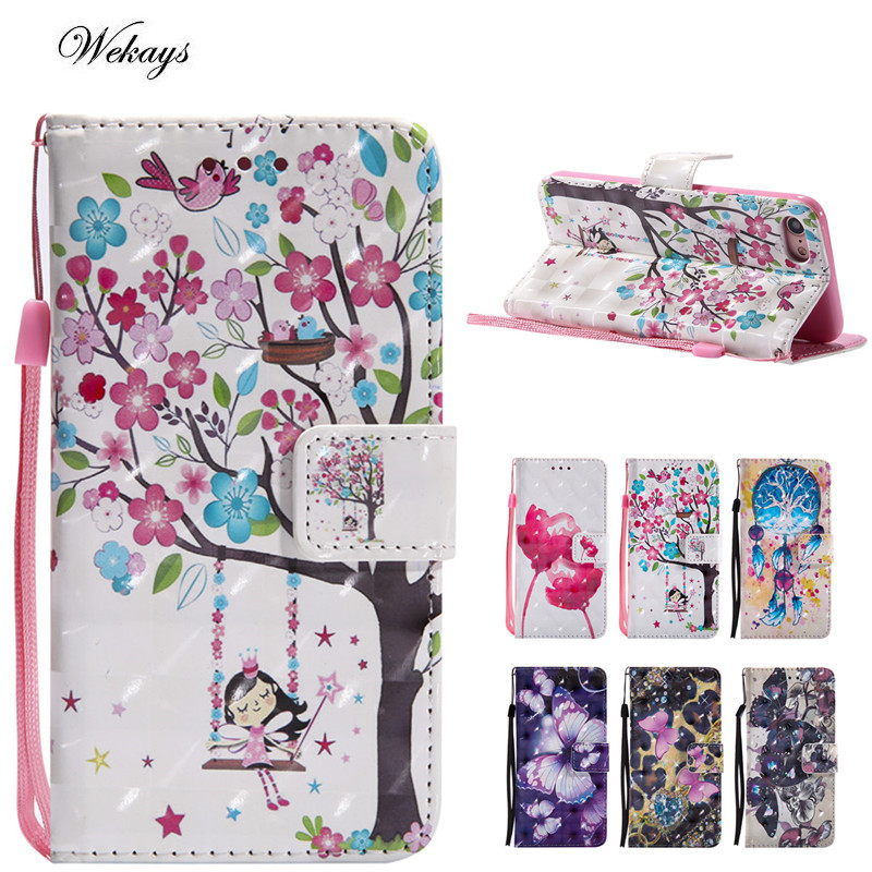 Wekays Leder Brieftasche <font><b>Flip</b></font> Fall Cartoon Blume Schmetterling Abdeckung Für <font><b>Iphone</b></font> X 5 5 S 6 6 S S 7 7 S Plus 8 8 Plus Fall Telefon Coque Capa image