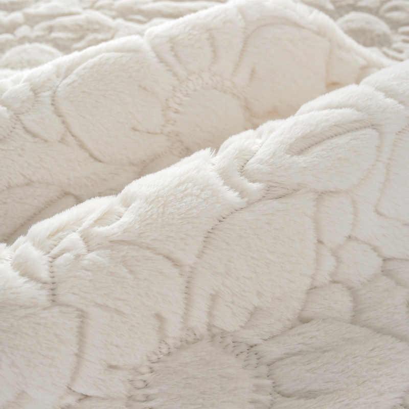 3D 花柄豪華なソファカバーノンスリップソフトファジーカバーベルベットシートカバーリビングルームのための L 字型ソファ装飾