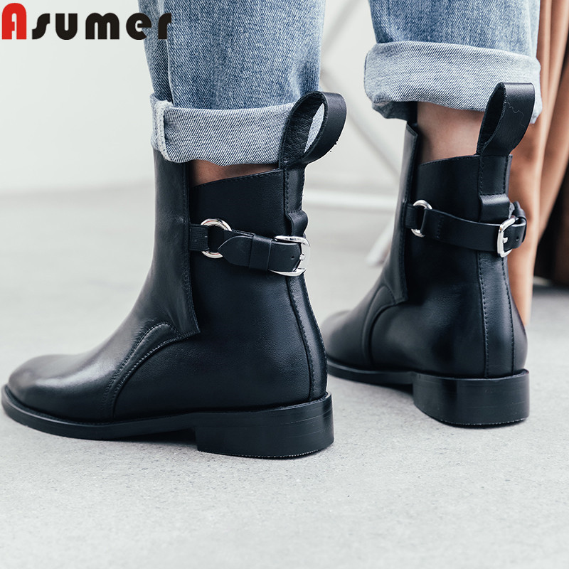 ASUMER Ankle-Boots Shoes Heels Autumn Genuine-Leather Women New for Round-Toe Square