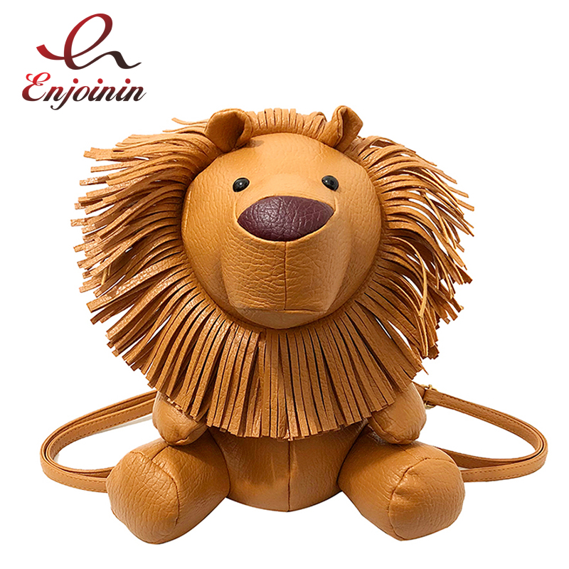 Cute Lion Styling Pu Leather Fashion Ladies Casual Shoulder Bag Backpack Girl Zipper School Bag Dazzling Small Backpack Bag