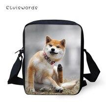 ELVISWORDS Fashion Women Messenger Bags Cartoon Shiba Inu Dogs Animal Pattern Girls Flaps Cross Body Mini Purses