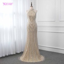 YQLNNE Champagne Crystals Evening Dress Long Pageant Dresses Mermaid Evening Gown Competition