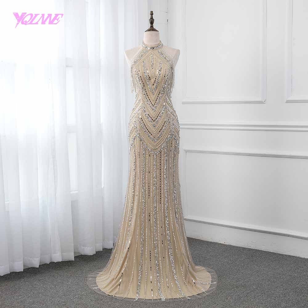 YQLNNE Champagne Long   Evening     Dress   Pageant   Dresses   Mermaid   Evening   Gown Competition