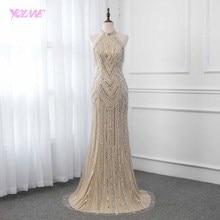 YQLNNE Şampanya Kristaller Akşam Elbise Uzun Pageant elbise Mermaid gece elbisesi Rekabet