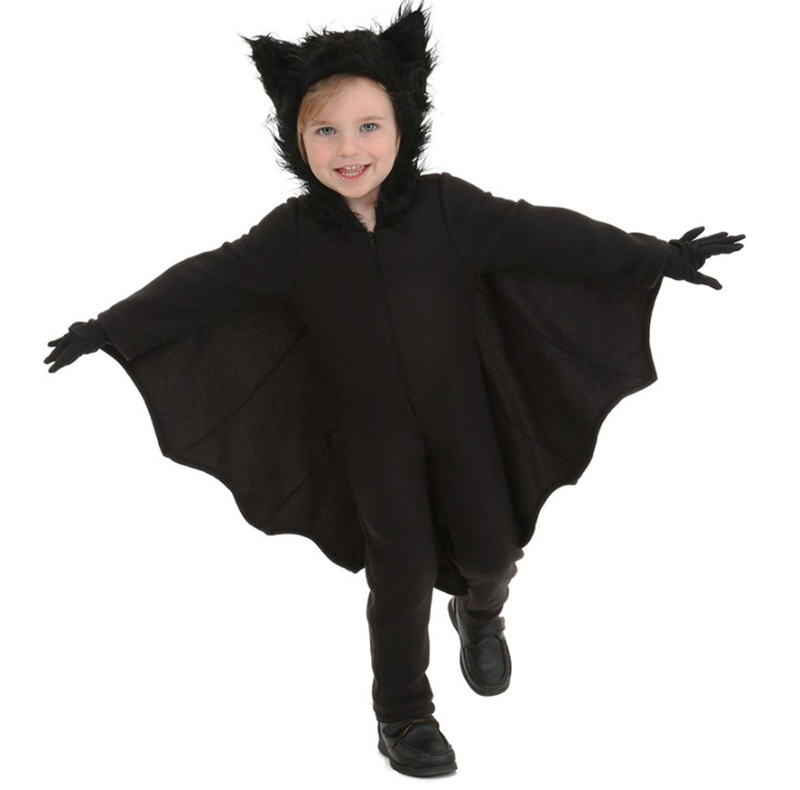 Kids Boys Black Bat Funny Costume Outfit Jumpsuit Wings Child Halloween Cool Hooded Birthday Clothing Gift For Child Boys Girls