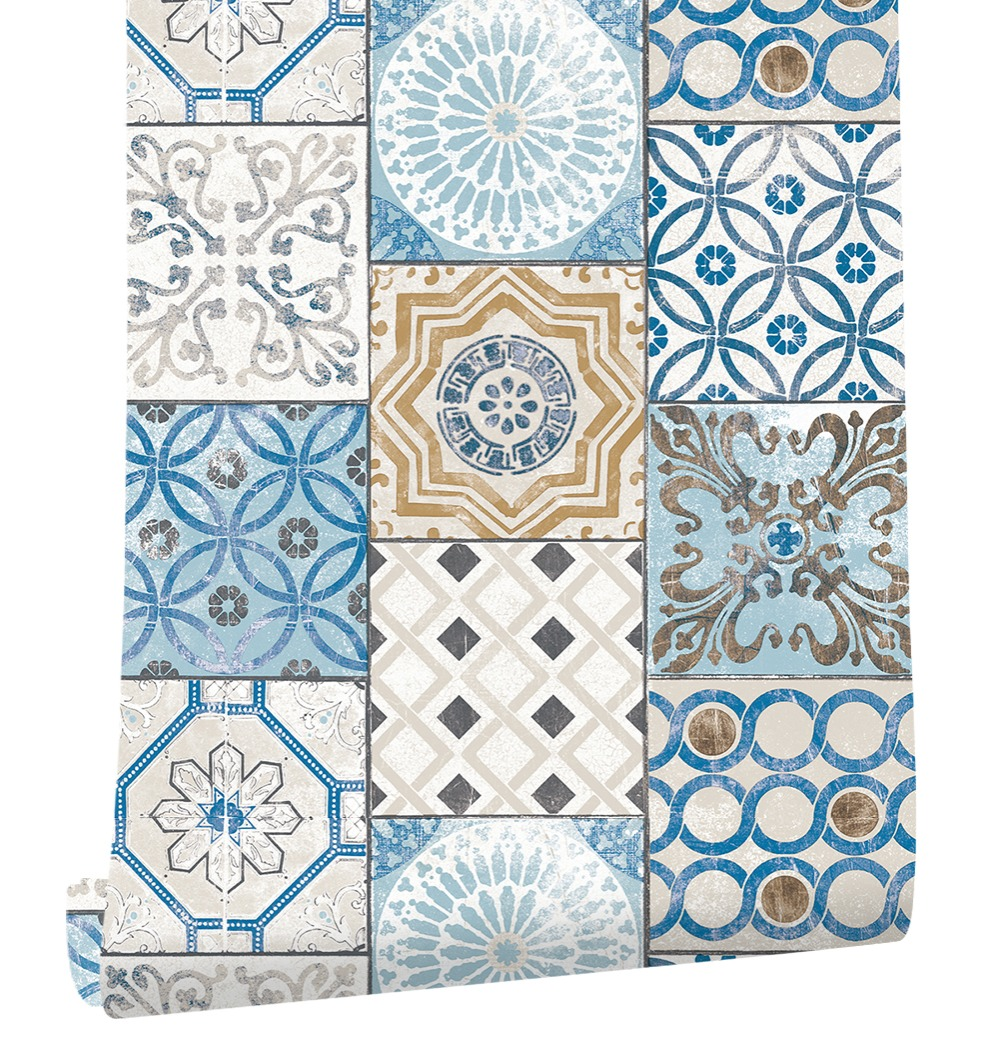 HaokHome Modern 3d Mosaic Brick Wallpaper roll 0.53mx10m Damask For Living Room Blue Accent Wall Home Bedroom Living room decor