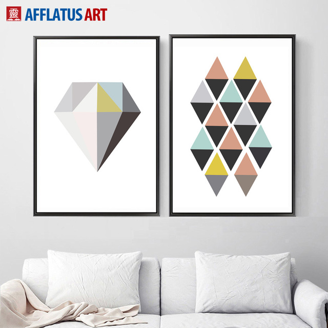 AFFLATUS Geometric Diamond Wall Art Canvas Painting Posters And ...