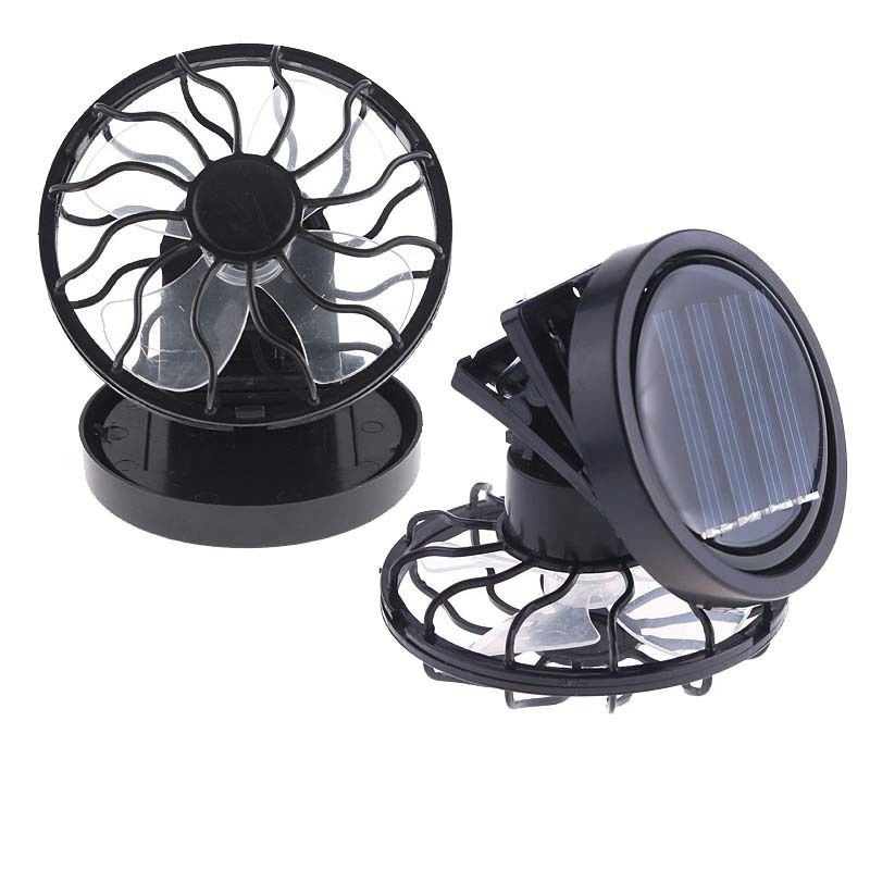 Electric Solar Fan Solar Cooling Fan Clip-on Mini Solar Power Portable Fan For Camping Traveling Fishing Climbing Playing Golf