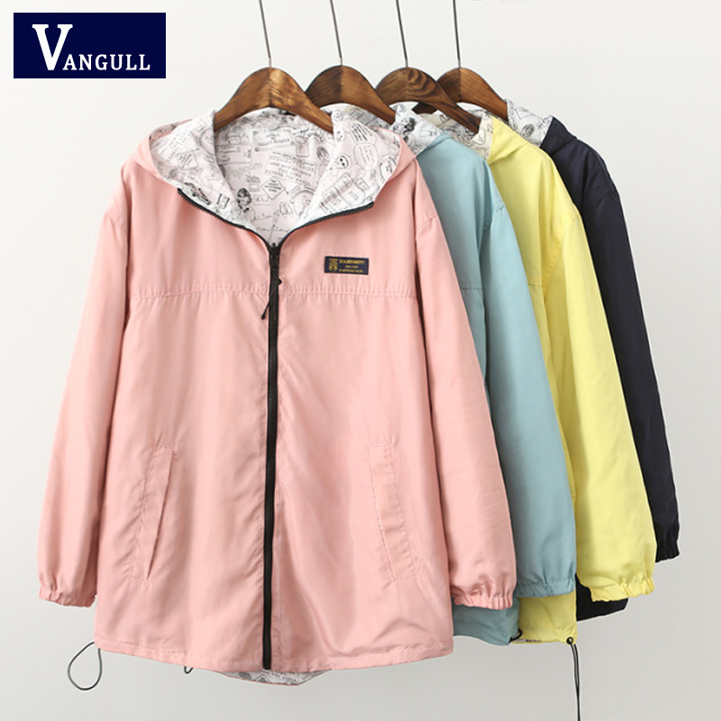 Spring Fashion women Bomber   Basic     Jacket   Pocket Zipper hooded two side wear Cartoon print outwear Coats loose big type Hot sale