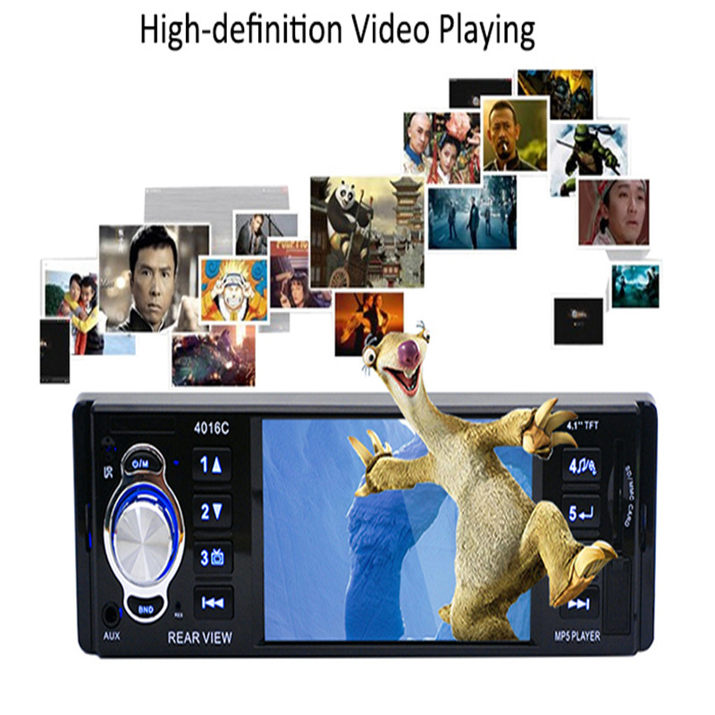 "Hot sale 12V 1 Din 4.1"" TFT HD LCD Display Car Radio Audio MP5 Video Player with FM USB SD AUX Ports Support Rear View Camera"