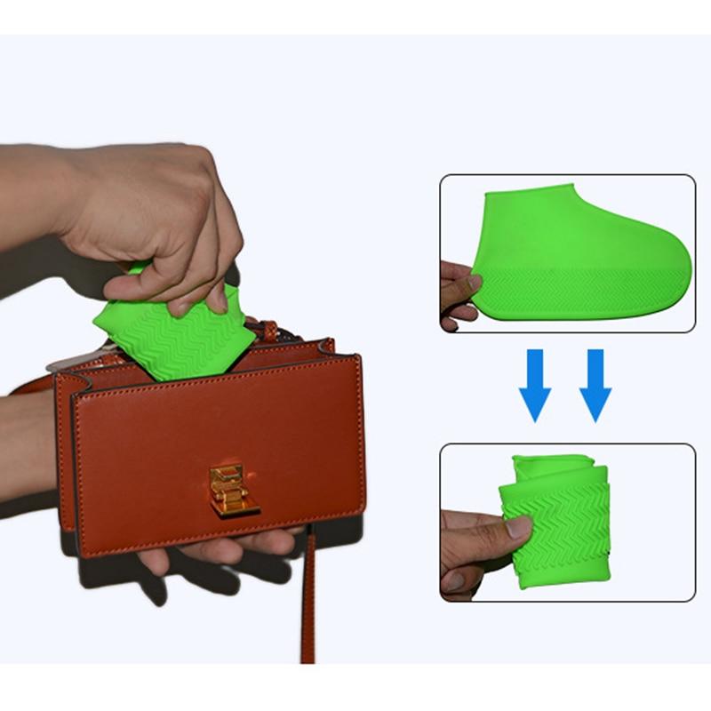 Capa de Sapato de Chuva Dobrável à Prova Acampamento ao ar Dwaterproof Água Borracha Anti Deslizamento Bota Overshoes Reutilizável Silicone Calçados Livre Capa Chuva