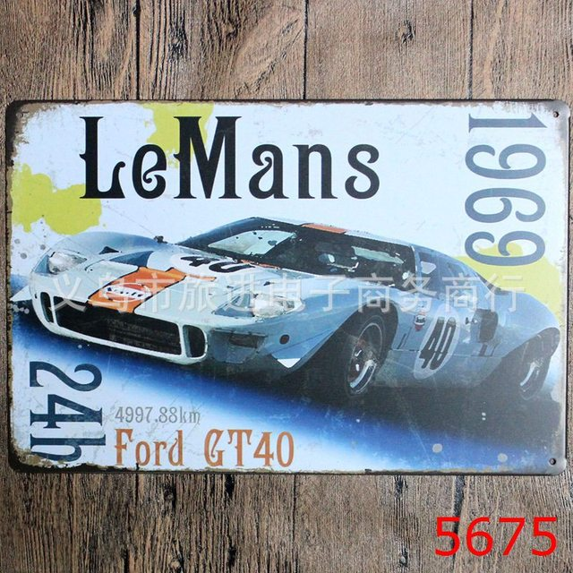 30x20cm Vintage Racing Car Home Decor Tin Sign For Wall Metal Art Poster