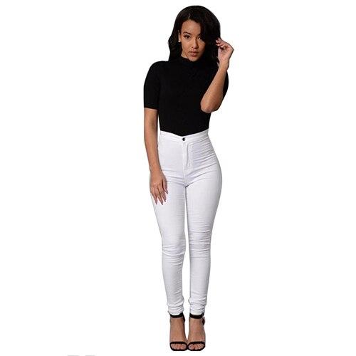 BFYL Womens Fashion Elasticity High Waist Jeans(WHITE,S/US-0~2)