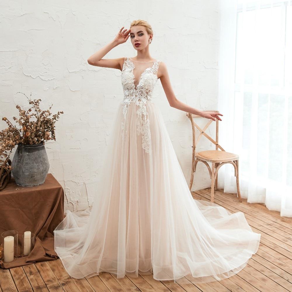 Vivian Wedding Gown: Vivian's Bridal 2019 Bohemian Lace Appliques Summer