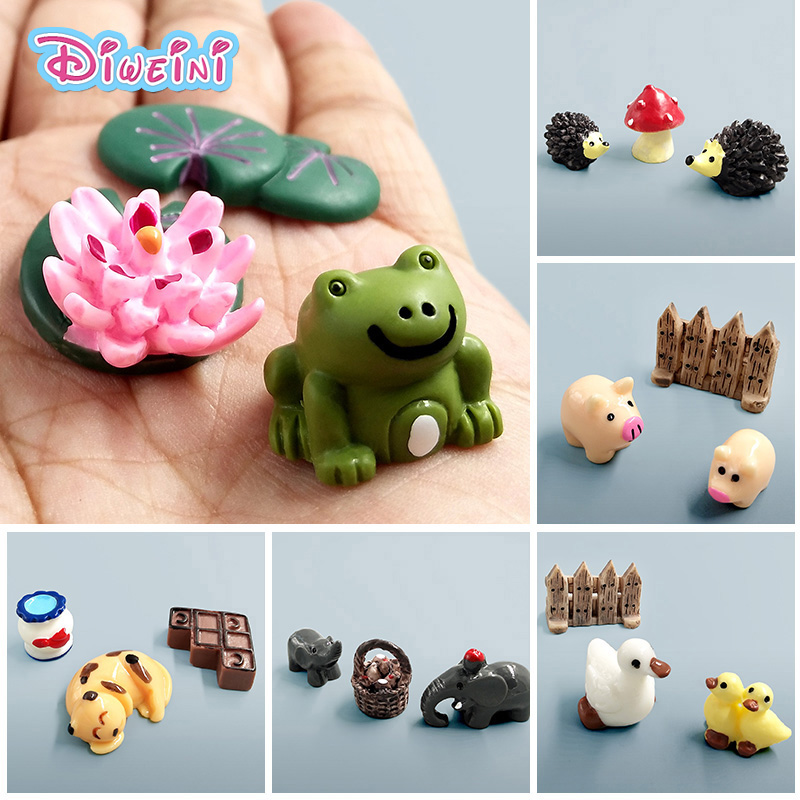 3pc/set Frog Turtle Dog Duck Donkey Cat Cartoon Animal Model Plastic Girl Boy Toy Miniature Figurine DIY Accessories Decoration