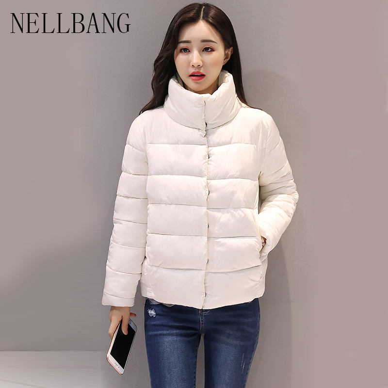 NELLBANG 2017 Autumn/Winter jacket Women Casual Warm Thicken Solid Short Style Cotton padded Parkas Coat Stand Collar 2017 autumn winter fashion loose casual pattern design bow short thicken cotton long sleeve women parkas jacket