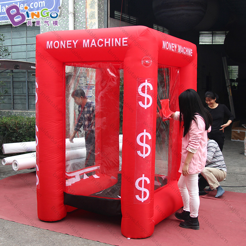 Personalized Red 1.7x1.5x2.2 Meters Inflatable Money Booth / Inflatable Money Grab Booth With Motors - Toy Tent