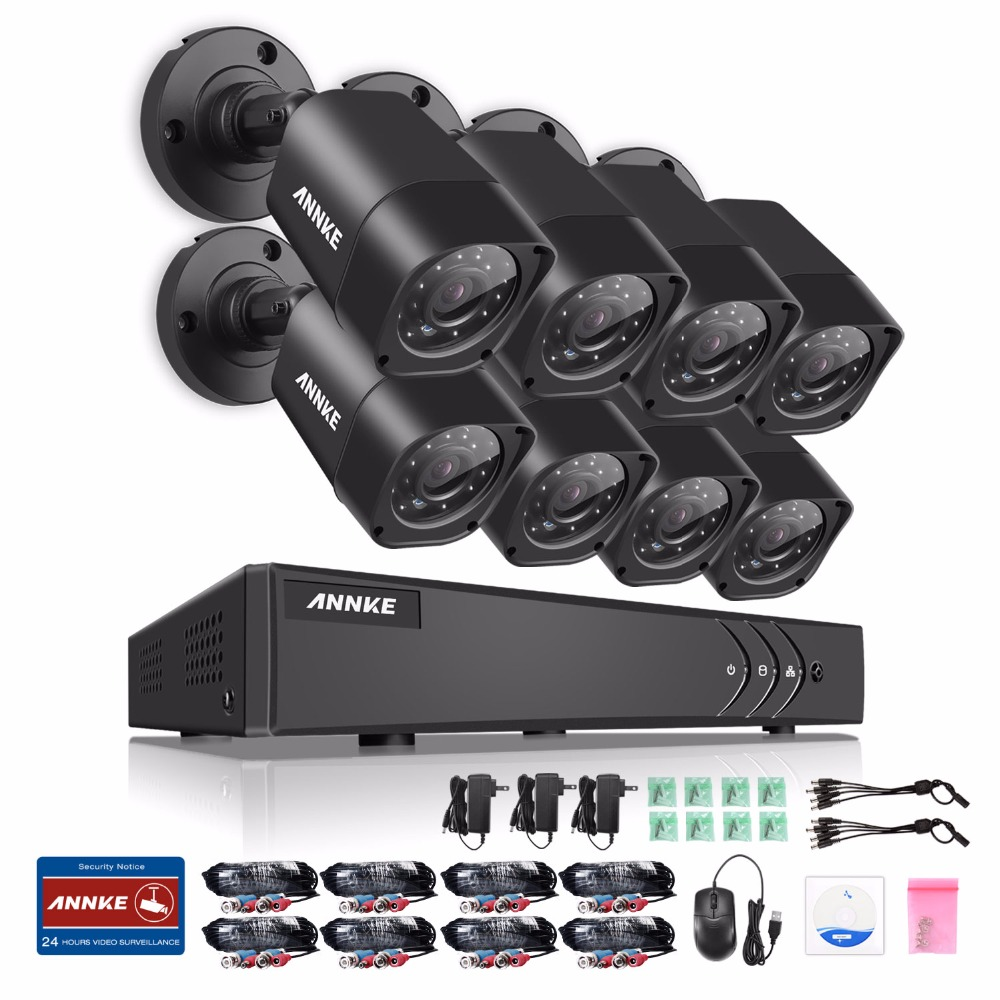 ANNKE 1080N 8CH TVI H.264+ DVR P2P 1500TVL 720P Outdoor Security Camera System