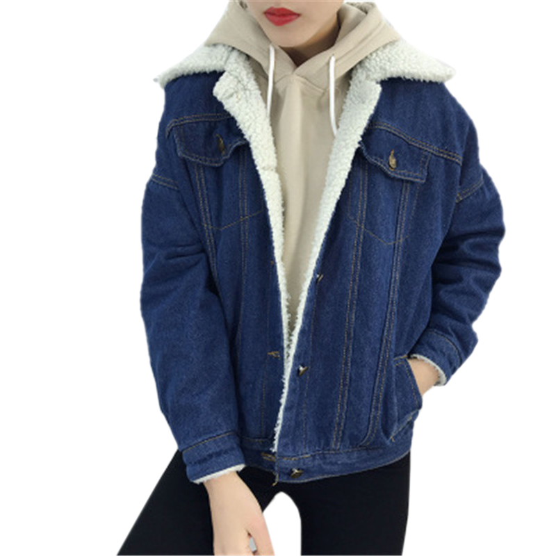 Autumn winter women kpop fashion Denim clothes Wear new single breasted lamb wool denim female warm casual jacket mujer de moda