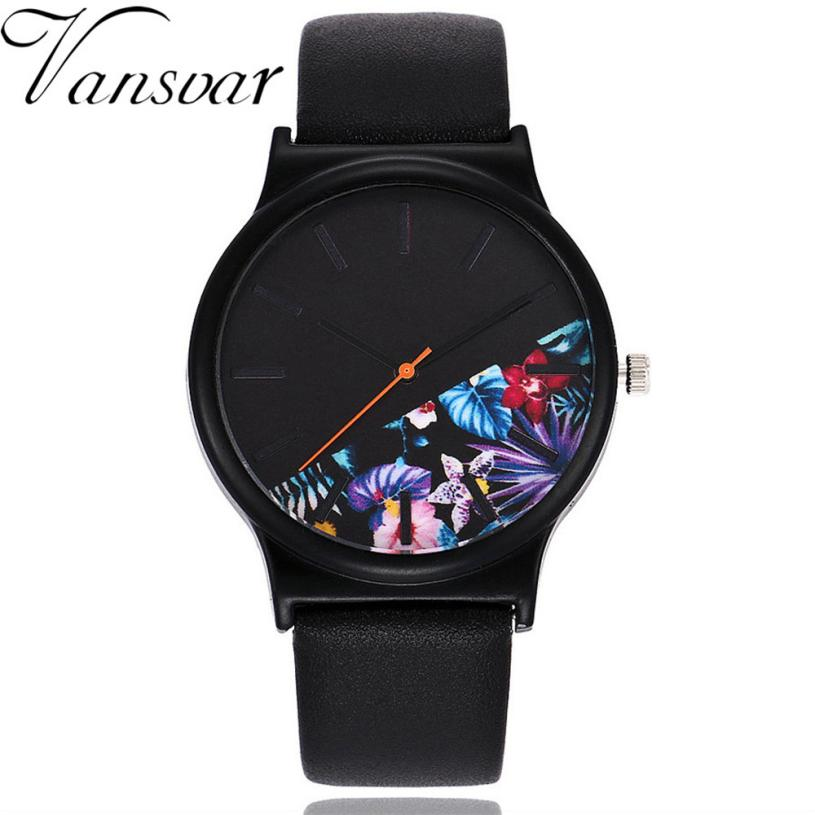 Watch Women Watches Relogio Feminino Reloj Mujer Unique Design Vansvar Brand Leather Quartz Dress Clock Gift For Lovers 2018 #C