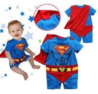 10 יח'\חבילה נער ונערה Romper סופרמן שרוול ארוך וקצר עם חלוק ליל כל הקדושים מתנת תחפושת בגדי Rompers אביב סתיו