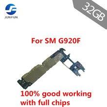 Jun divertido usado desbloqueado placa mãe para samsung galaxy s6 g920f 32gb europa versão sistema operacional android lógica placa mãe