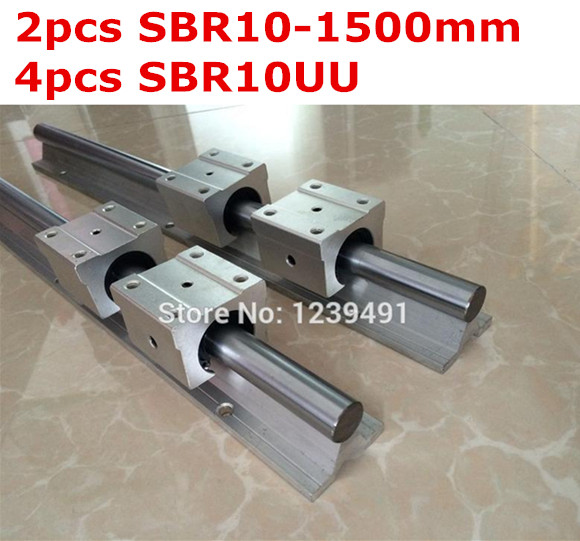 ФОТО 2pcs SBR10  -  1500mm linear guide + 4pcs SBR10UU block