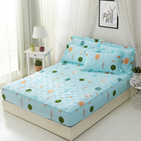 Thicken bed sheet pillowcase flower printed bed linen queen size mattress covers fitted sheet sets with elastic for king size #s