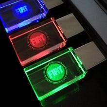 Pendrive 8GB 16GB, Creative Crystal Transparent LED light for FIAT cars Logo 4GB 8GB 16GB 32GB 64GB USB Flash Drive Memory Stick