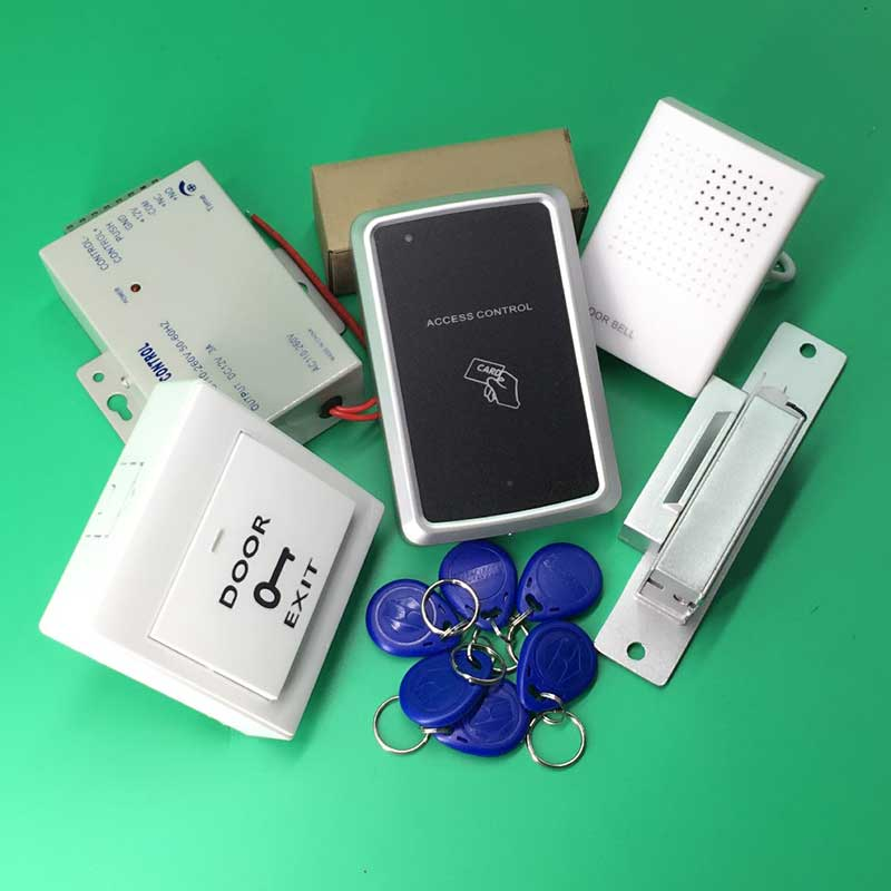 ФОТО Full Complete RFID proximity access RFID Access Control System Kit Set+NO Strike Door Lock+ID Card Keytab+Power+Exit Button