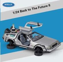 Juguetes modelo de coche de aleación de metal 1:24 escala diecast coche oart 1 2 3 máquina del tiempo DeLorean DMC-12 modelo welly volver al futuro Coche