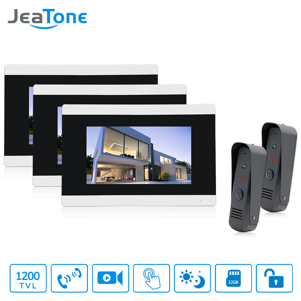 Jeatone 7 Touch Screen Wired Video Door Phone Intercom Entry System 3 Monitors with 2 IR Outdoor Cameras Remote Control jeatone video phone home intercom audio doorbell 3 7mm pinhole cameras with 4 indoor monitor screen wired office intercom
