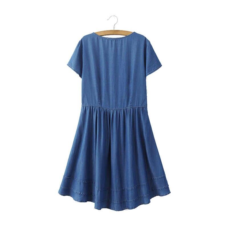 Женский винтажный геометрический вышивка платье с ремнем-кисточкой Европейский стиль Летние повседневные Асимметричные джинсовые платья vestidos QZ2498