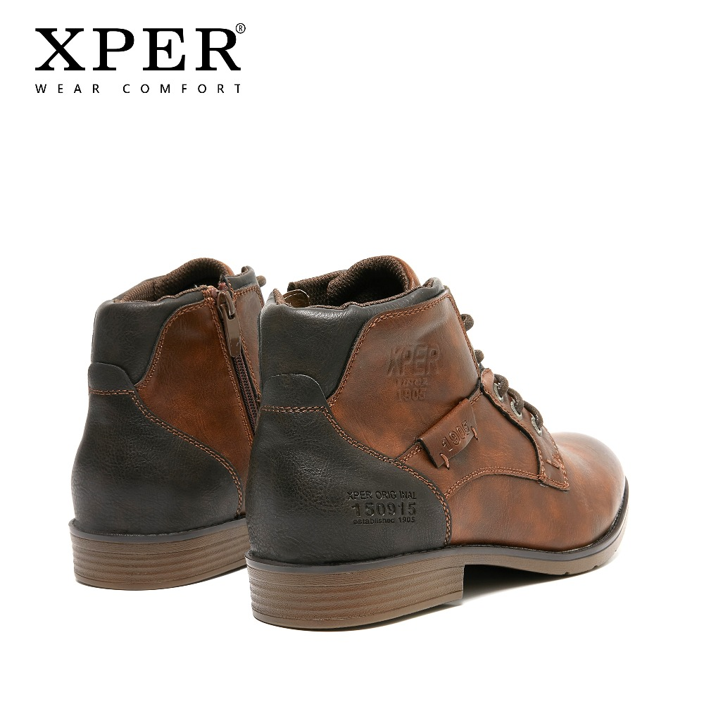 XPER 2019 Printemps Nouveautés Mode bottines Hommes Mise À Niveau bottes de moto Porter Confort Lumière D'hiver Chaussures Armée # XHY12504LG - 5
