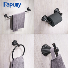 Fapully Bathroom Accessories Set 4pcs Black ORB Hook Towel Holder Rail Clothes Shelf Paper Bath Accessorie Hardware