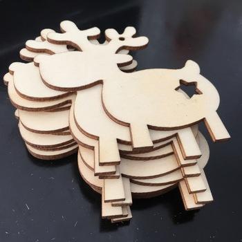 10 sztuk niedokończone drewniane jelenie boże narodzenie zawieszka na prezent na boże narodzenie ozdoby choinkowe na boże narodzenie dekoracji i DIY Craft Making tanie i dobre opinie Niedokończone Drewna wood Wedding Party Christmas