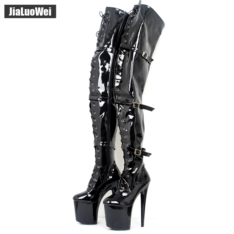 jialuowei Women Fashion 20CM Thin High Heels 9CM platform Sexy Fetish Pointed Toe Buckle Over-the-Knee Thigh high Dance Boots jialuowei 20cm ultra high heel chunky heels platform zip buckle boots women dance party over knee fetish thigh high shoes
