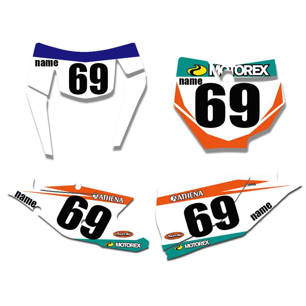 New Bull Full Graphics Decals Stickers Custom Number For KTM 125 250 300 350 450 EXC EXCF XCW XC XCF 2017 2018 2019 in Decals Stickers from Automobiles Motorcycles