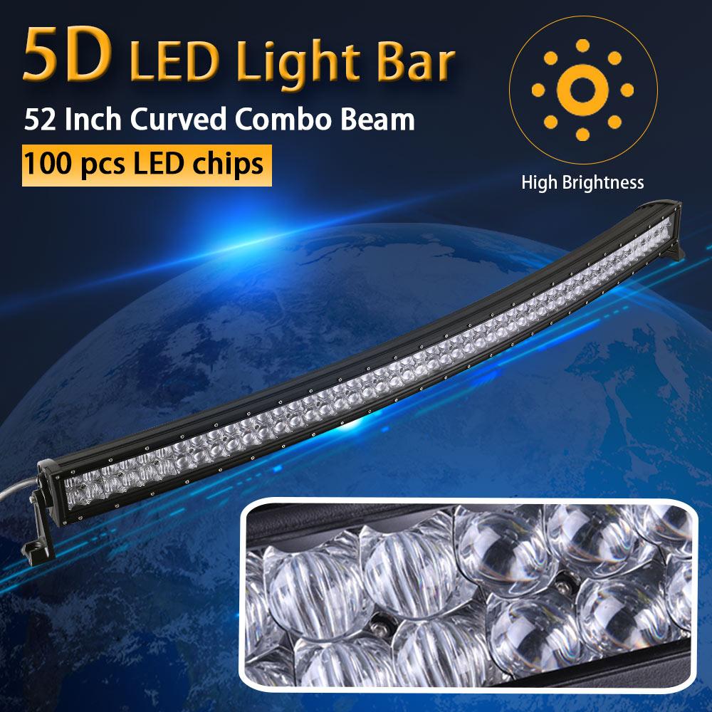 Il Potere reale 5D 52 Pollice 132 cm Curvo LED Light Bar 12 V 24 V Combo Fascio per Offroad Barca Auto Camion ATV SUV 4WD 4x4 Lavoro lampada