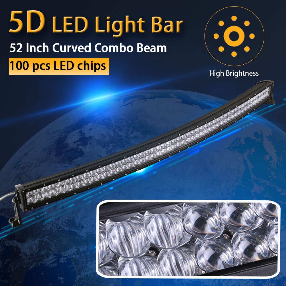 Pouvoir réel 5D 52 Pouce 132 cm Courbe LED Light Bar 12 V 24 V Combo Faisceau pour Offroad Bateau Voiture Camion ATV SUV 4WD 4x4 Travail lampe